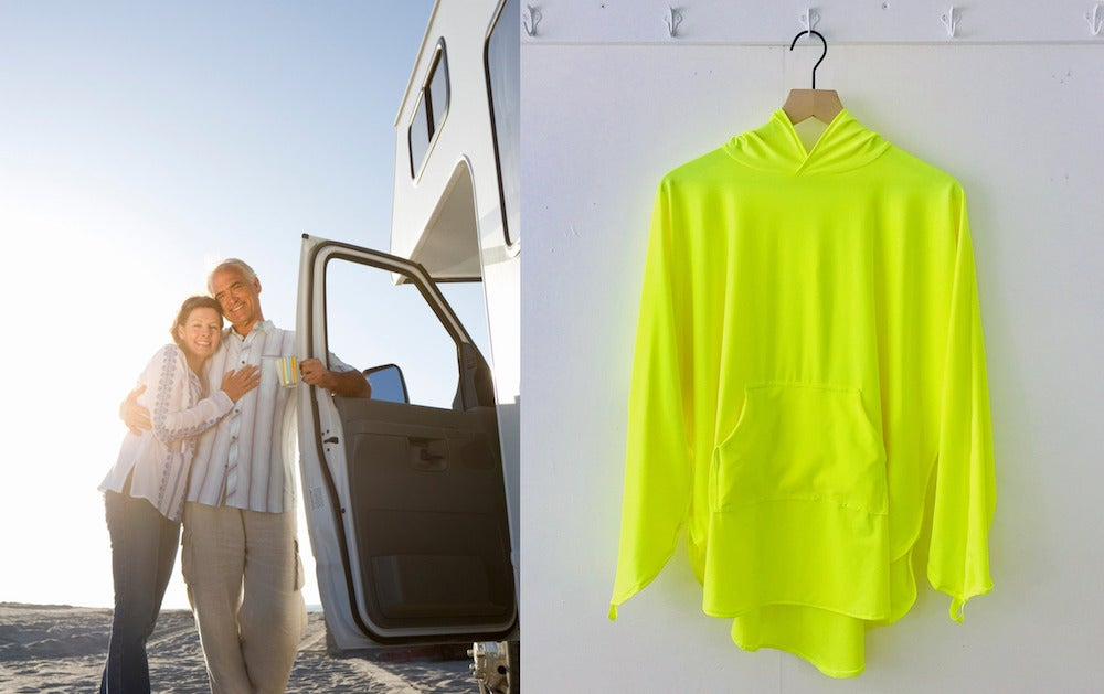 (left) senior couple embrace and rest against open door of RV (right) yellow uv protective poncho hanging up