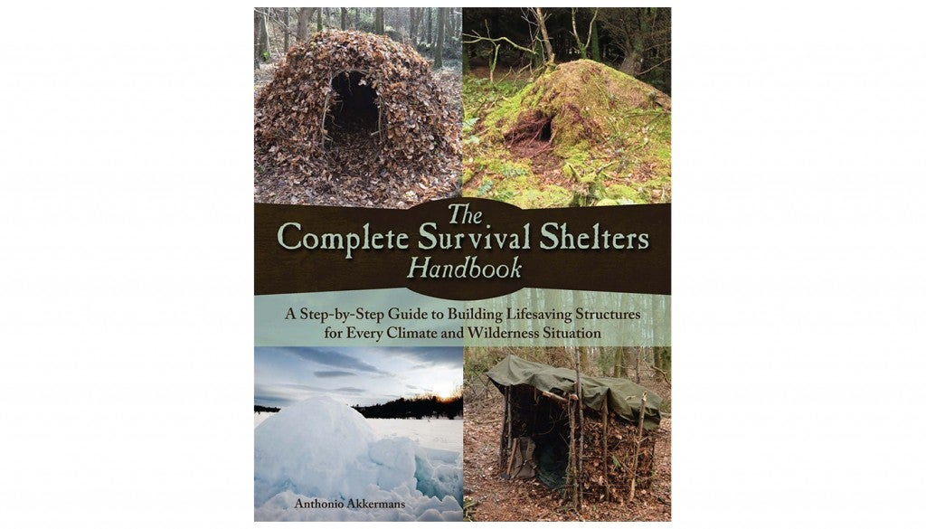 "the book cover for ""Complete Survival Shelters Handbook,"" by Anthonio Akkermans"