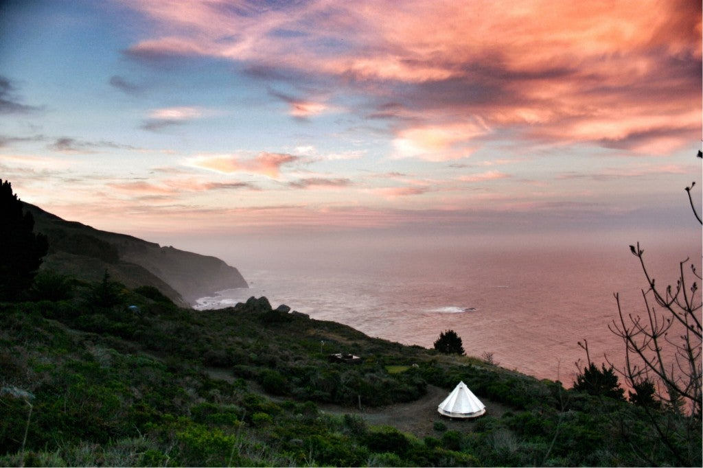 the california coast as seen from a camping site in big sur