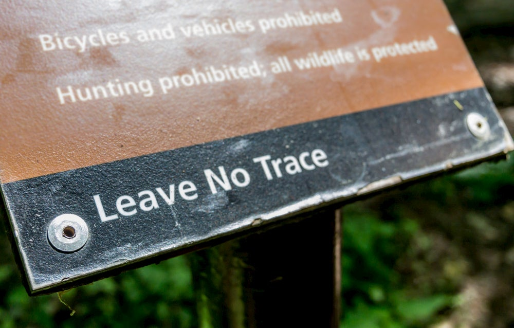 "National Park ""Leave No Trace"" sign."