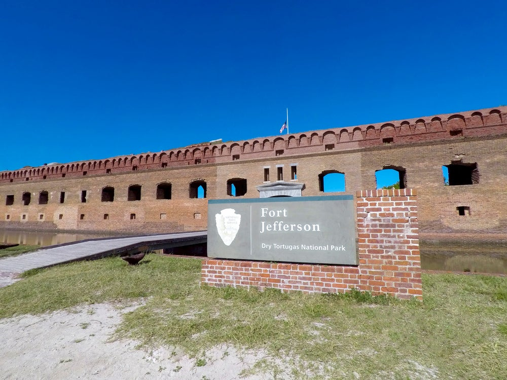 Fort Jefferson historical monument in Key West at Dry Tortugas National Park.