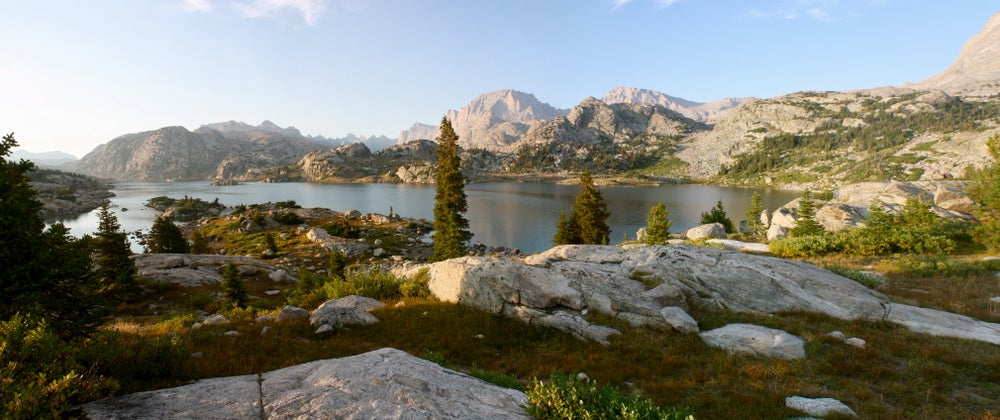 Lake Titcomb Basin surrounded by mountains.