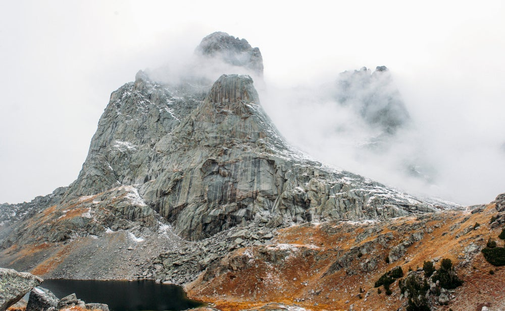 Cirque of the Towers covered in fog.
