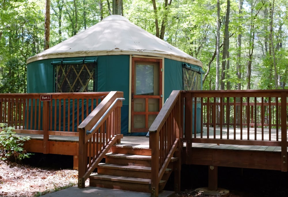 a yurt on a raised platform in fairy stone state park