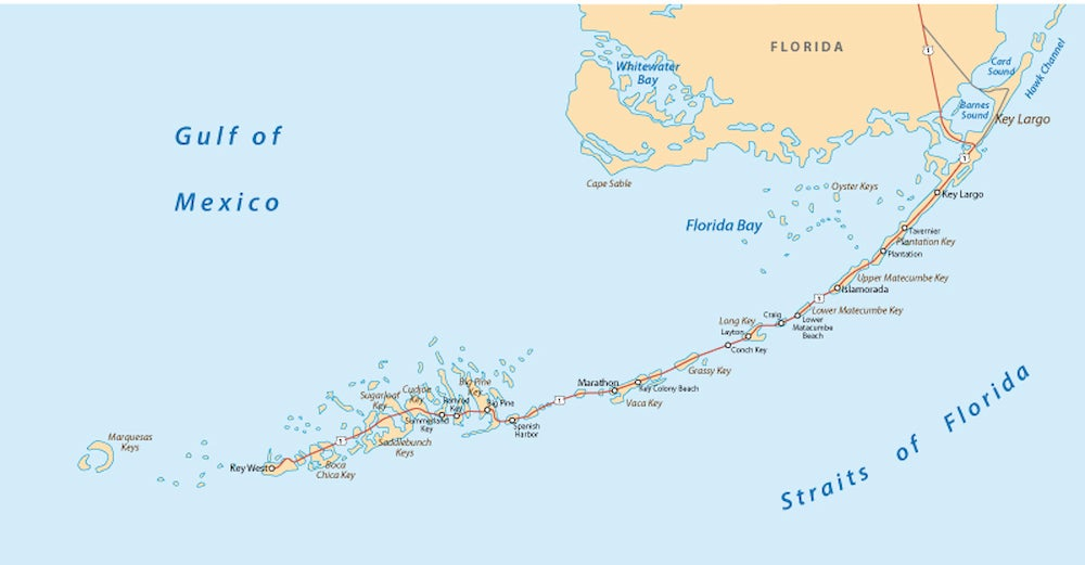 Map of the Florida Keys.