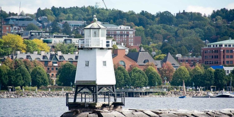 a lighthouse in burlington harbor on lake champlain
