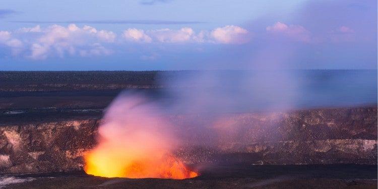 the kilauea volcano in hawaii volcanoes national park at dusk