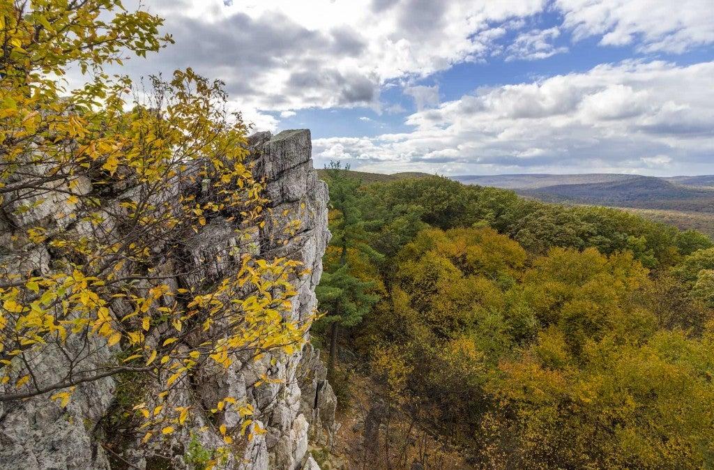 an overlook rock along the PA Appalachian trail