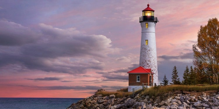 The Crisp Point Lighthouse at sunset on Lake Superior, Upper Peninsula, Michigan