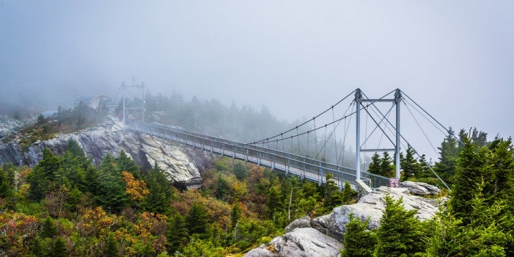 the cable bridge on grandfather mountain in linville, nc