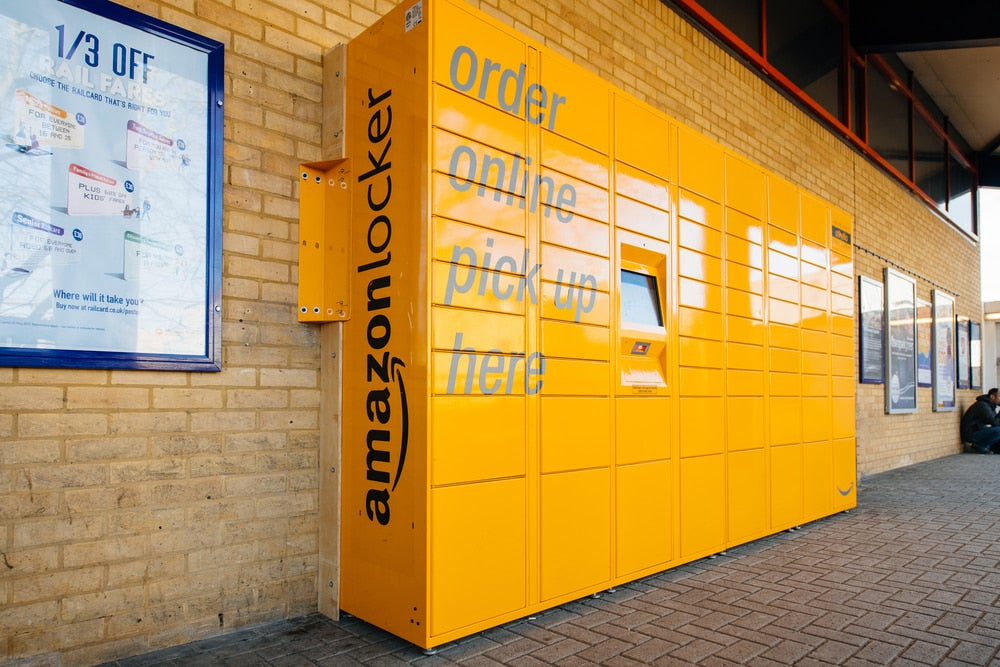 a tall orange amazon locker service