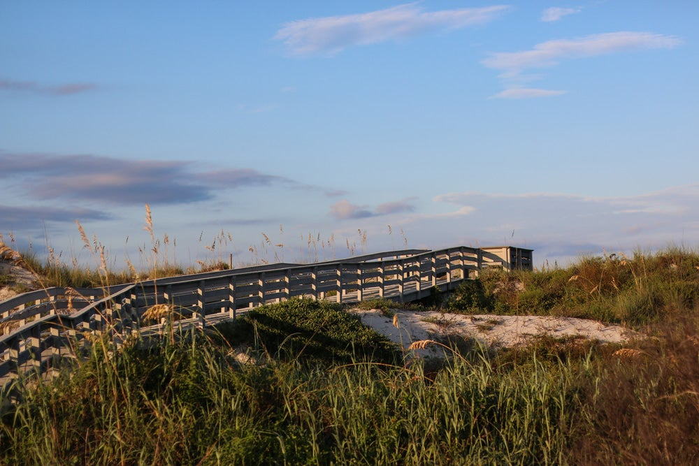 a boardwalk over a sand dune at dusk in anastasia state park in florida