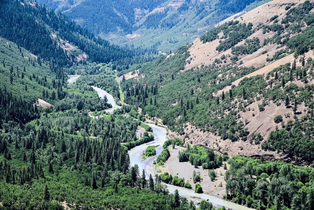 Klickitat River winding through valley surrounded by evergreens.
