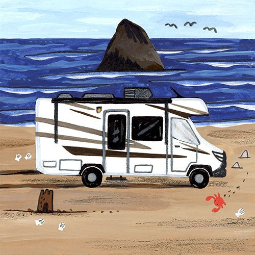 an illustration of an RV on a beach resting on the sand