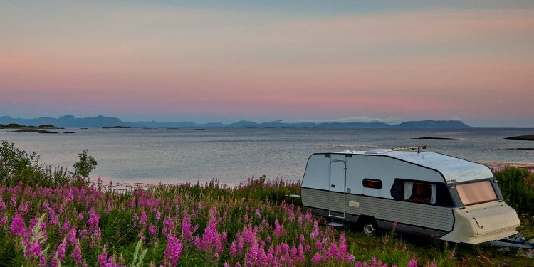 RV in middle of wild flower field and beach in background at sunset