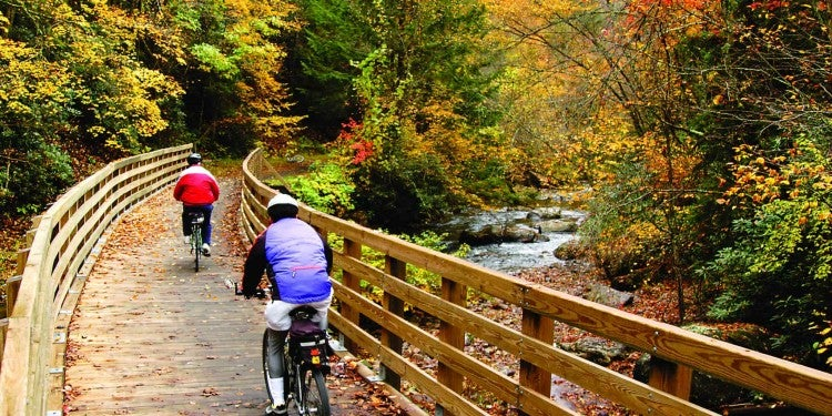 two bikers riding on the virginia creeper trail