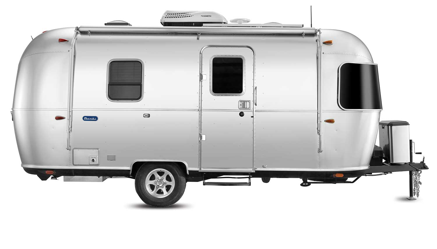exterior side view of Airstream's new Bambi model.