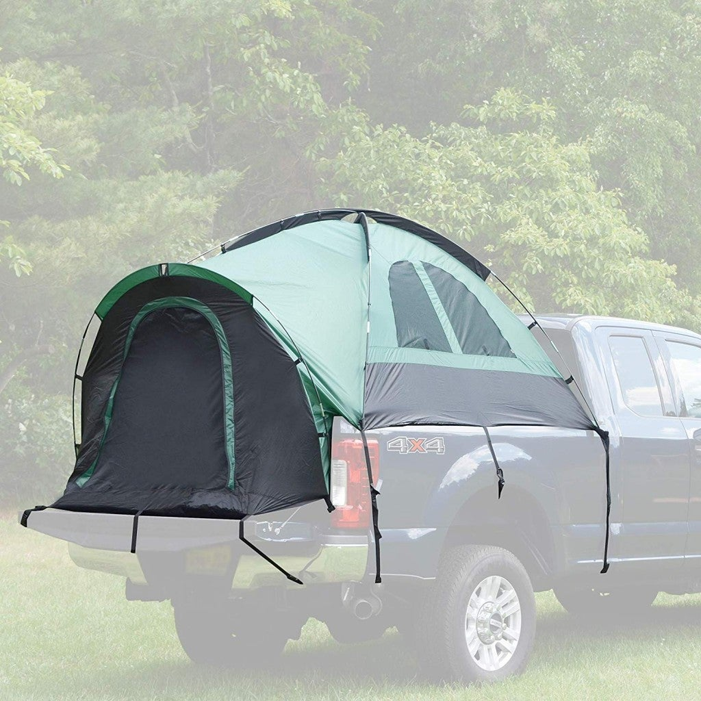 a superimposed image of a truck bed tent on a truck outdoors