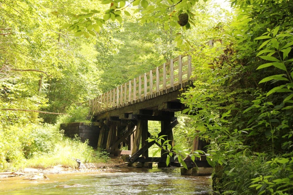 a wooden bridge seen from a river on the virginia creeper trail