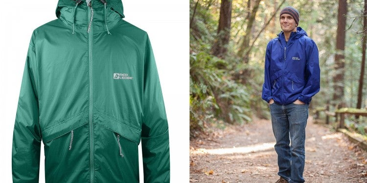 a split image of a red ledge packable rain jacket and a man on a trail wearing the jacket