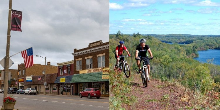 an image of crosby, MN and an image of two bikers on a trail over a lake