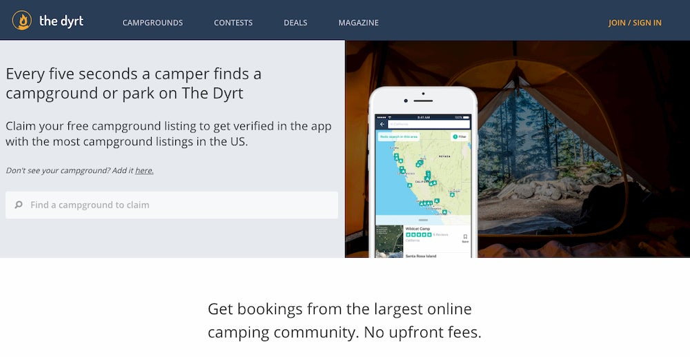 the dyrt webpage for claiming a campground