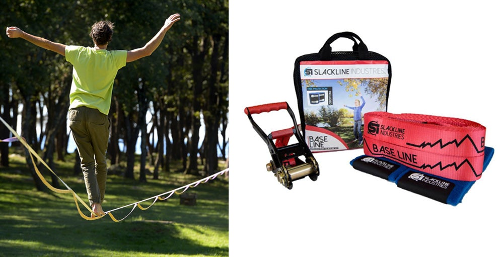 Left: Man slack lining among trees. Right: Slack line gear