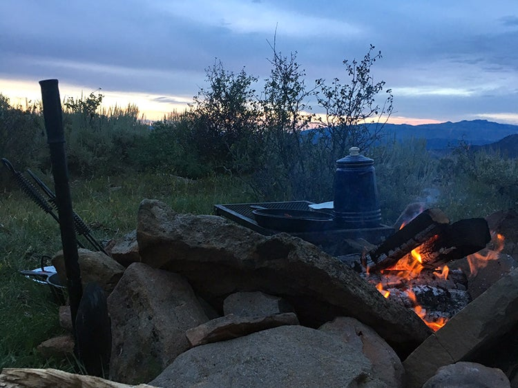 campfire at coffee pot spring campground colorado
