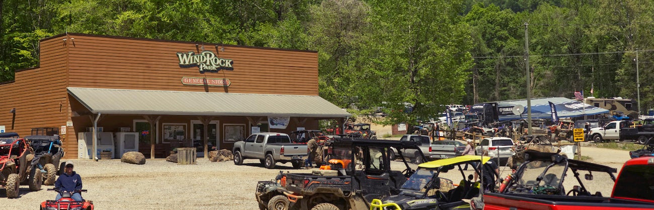 ATVs parked outside of the Windrock General Store.