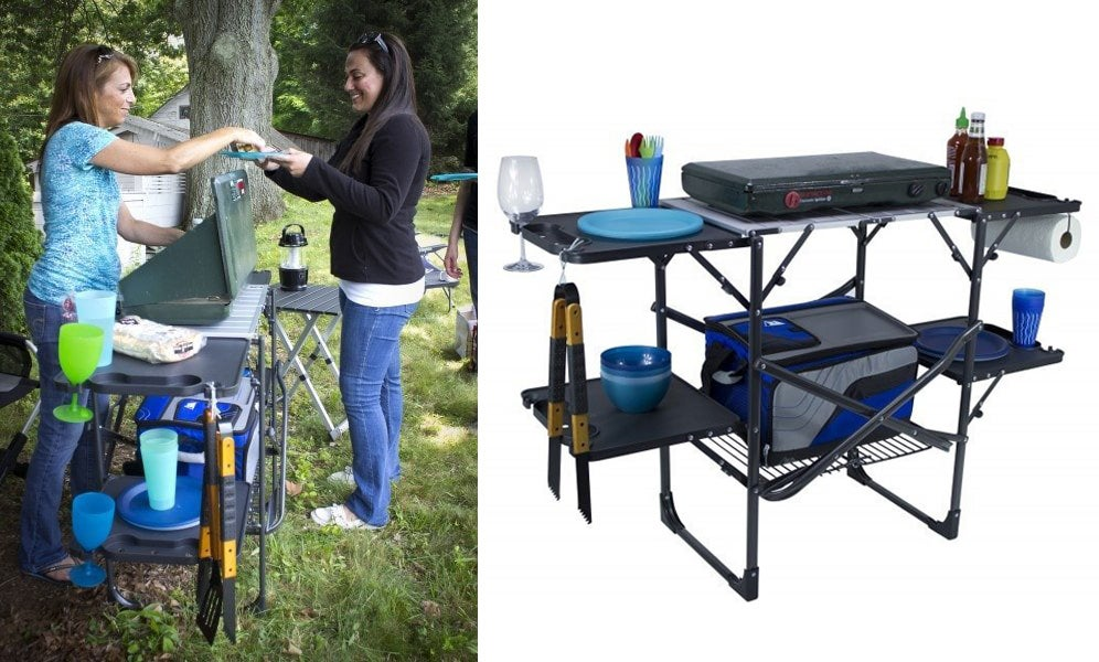 Left: Woman enjoying meal in front of barbecue. Right: GCI Slim-Fold Cook Station