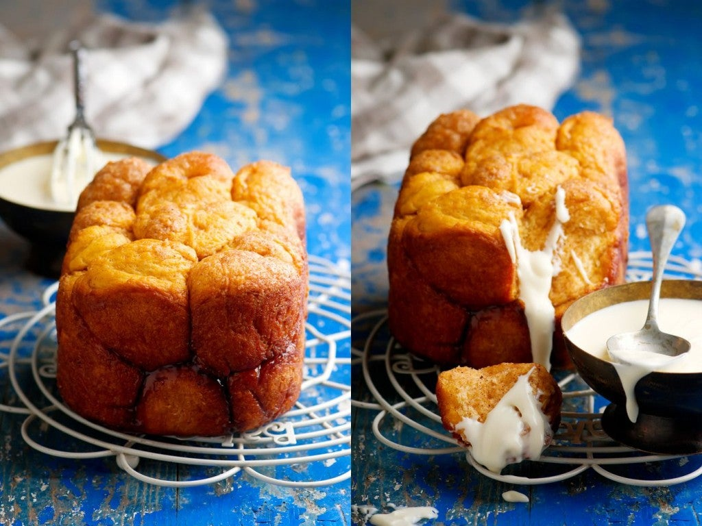 side by side photo of monkey bread clump fresh out of the oven and with icing drizzled over it