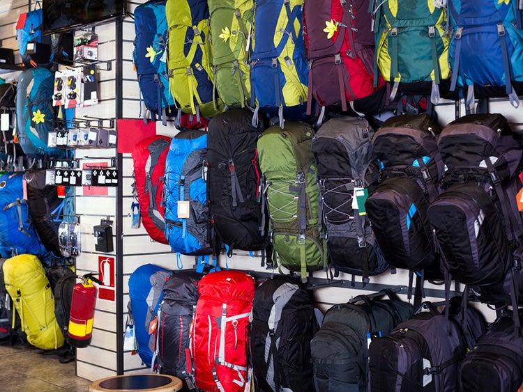 backpacks at gear shop