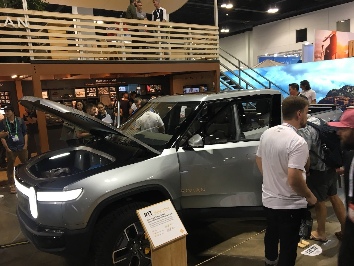 the rivan R1 truck on the show floor of summer OR