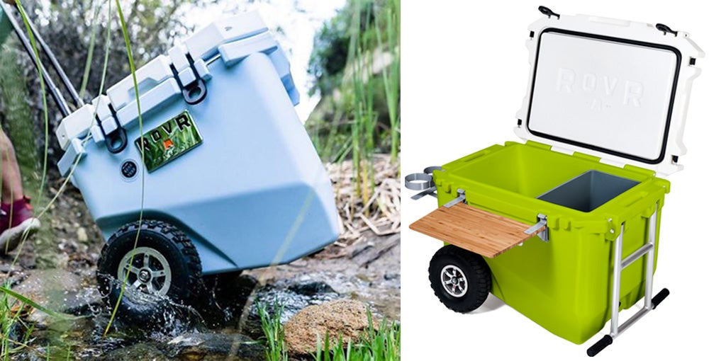 Left: Cooler rolling through creek. Right: ROVR cooler