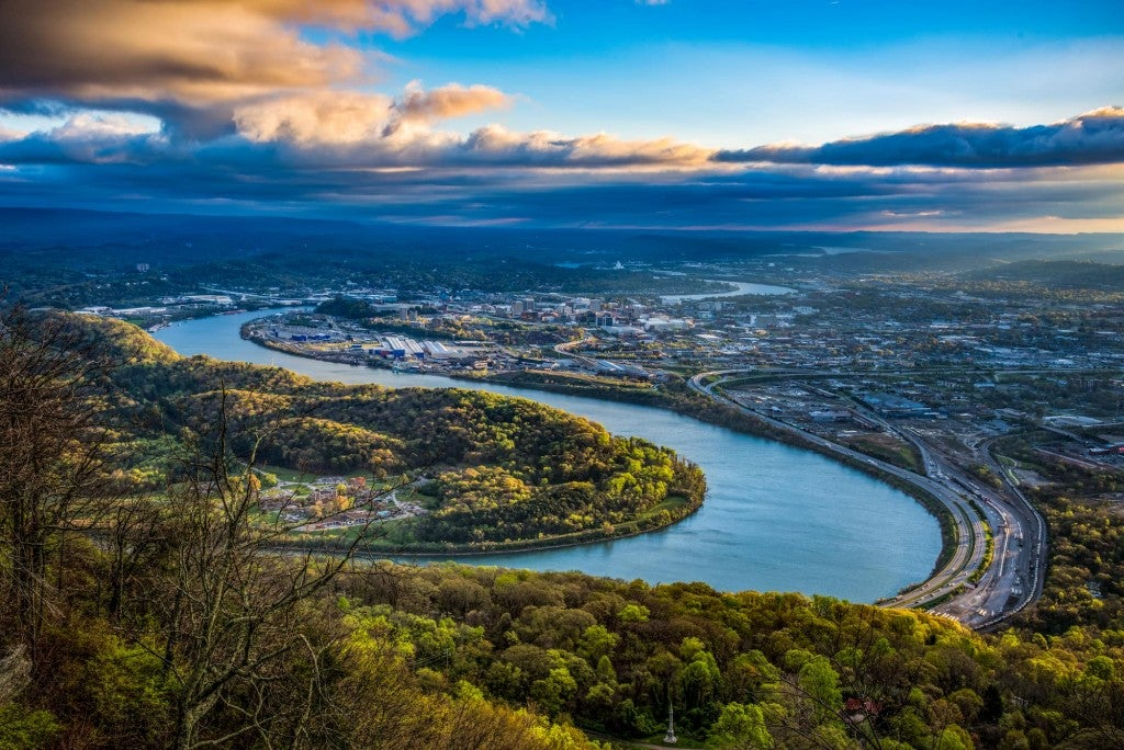 Aerial view of river running through Chattanooga, Tennessee