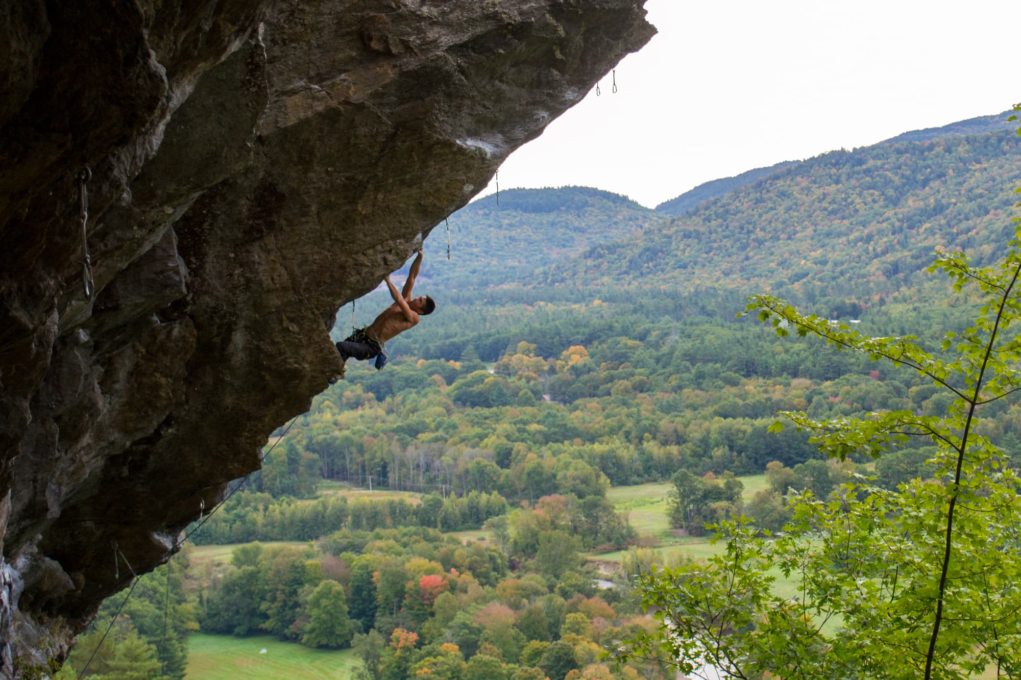 a man climbing in new hampshire