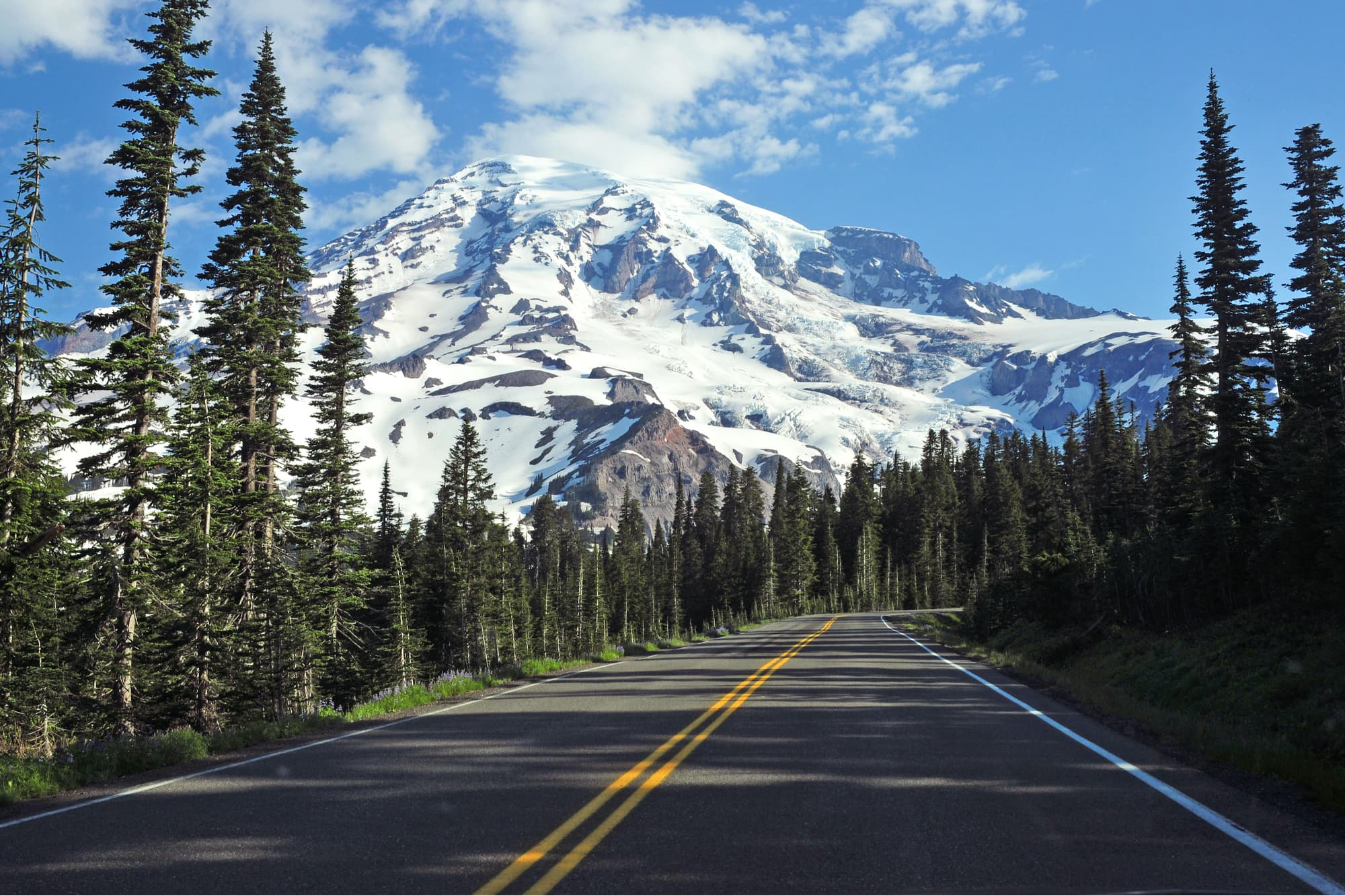 mount rainier a seen from a road in washington