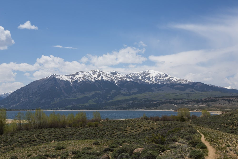 mount elbert from twin lake in colorado