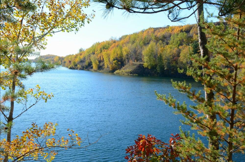 a view of a quarry lake near crosby minnesota