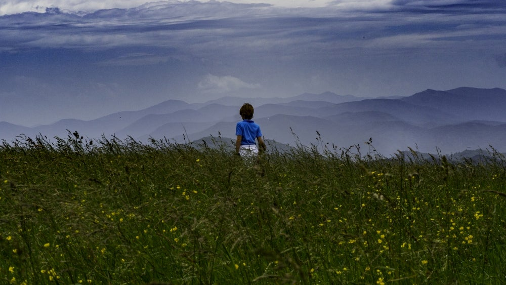 Girl standing in field of flowers with mountains in background