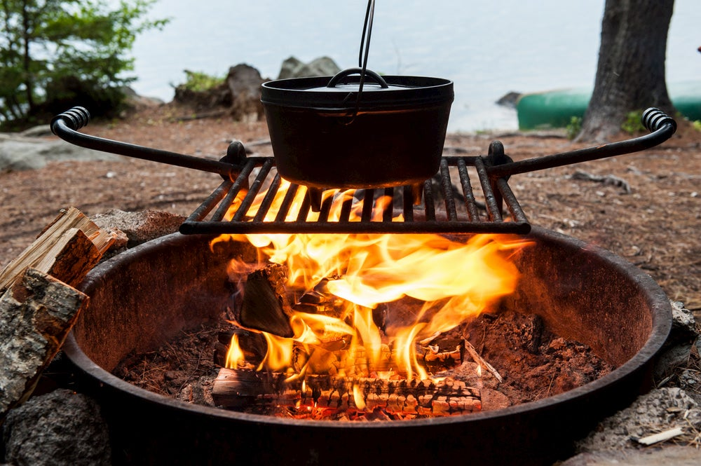Dutch oven over fire pit