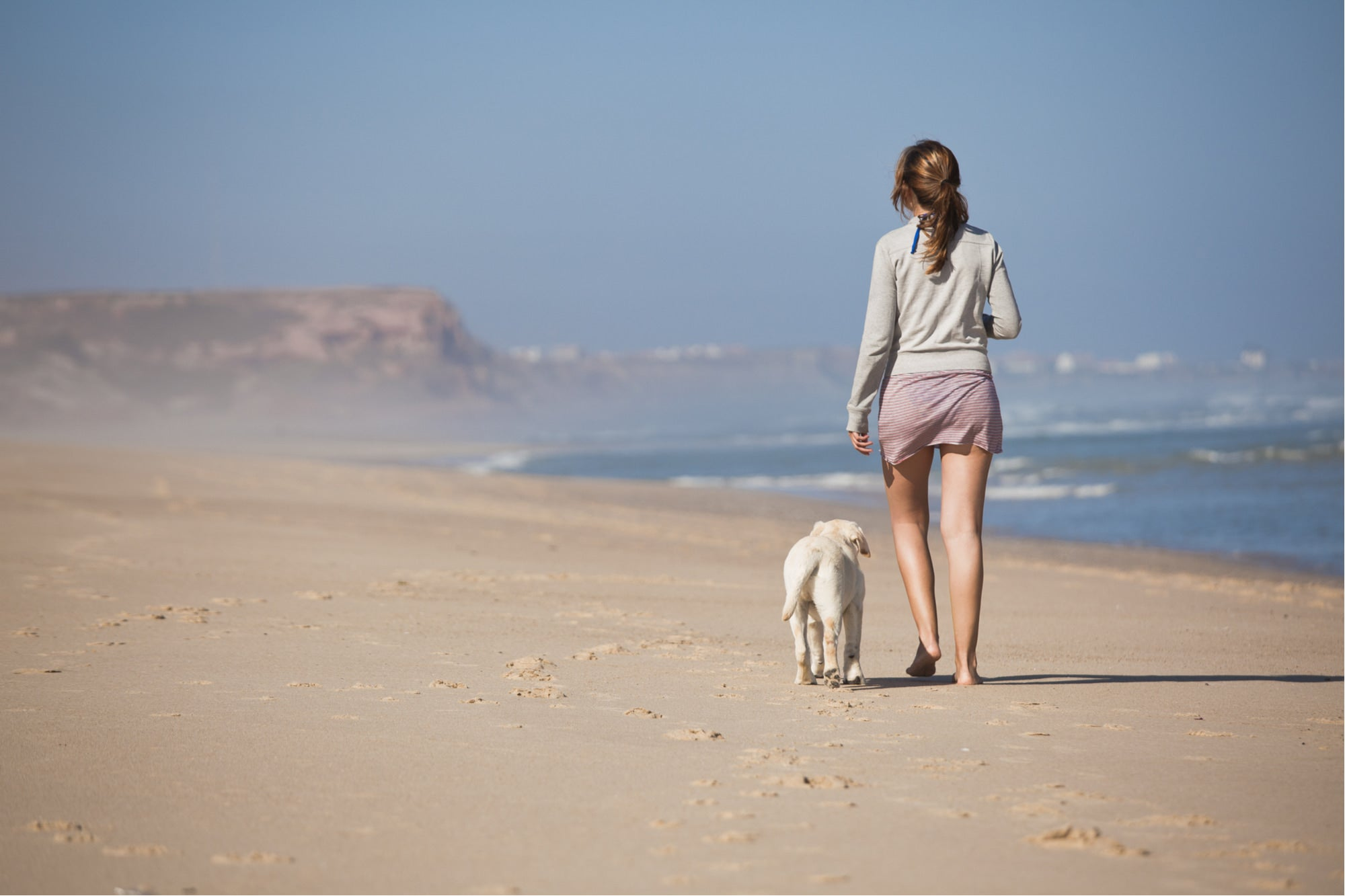 a woman walking with a dog on the beach off leash