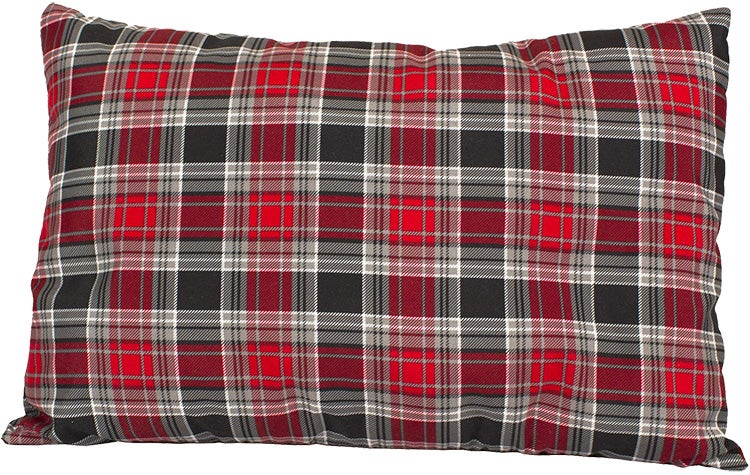 product image of red and green plaid teton sports camp pillow on a white background