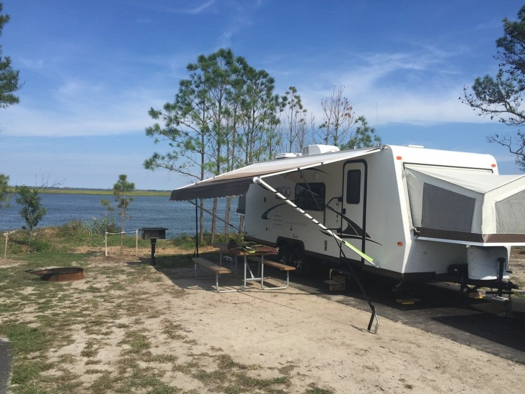 an RV campsite at massey's landing campground on the shores of the ocean in delaware