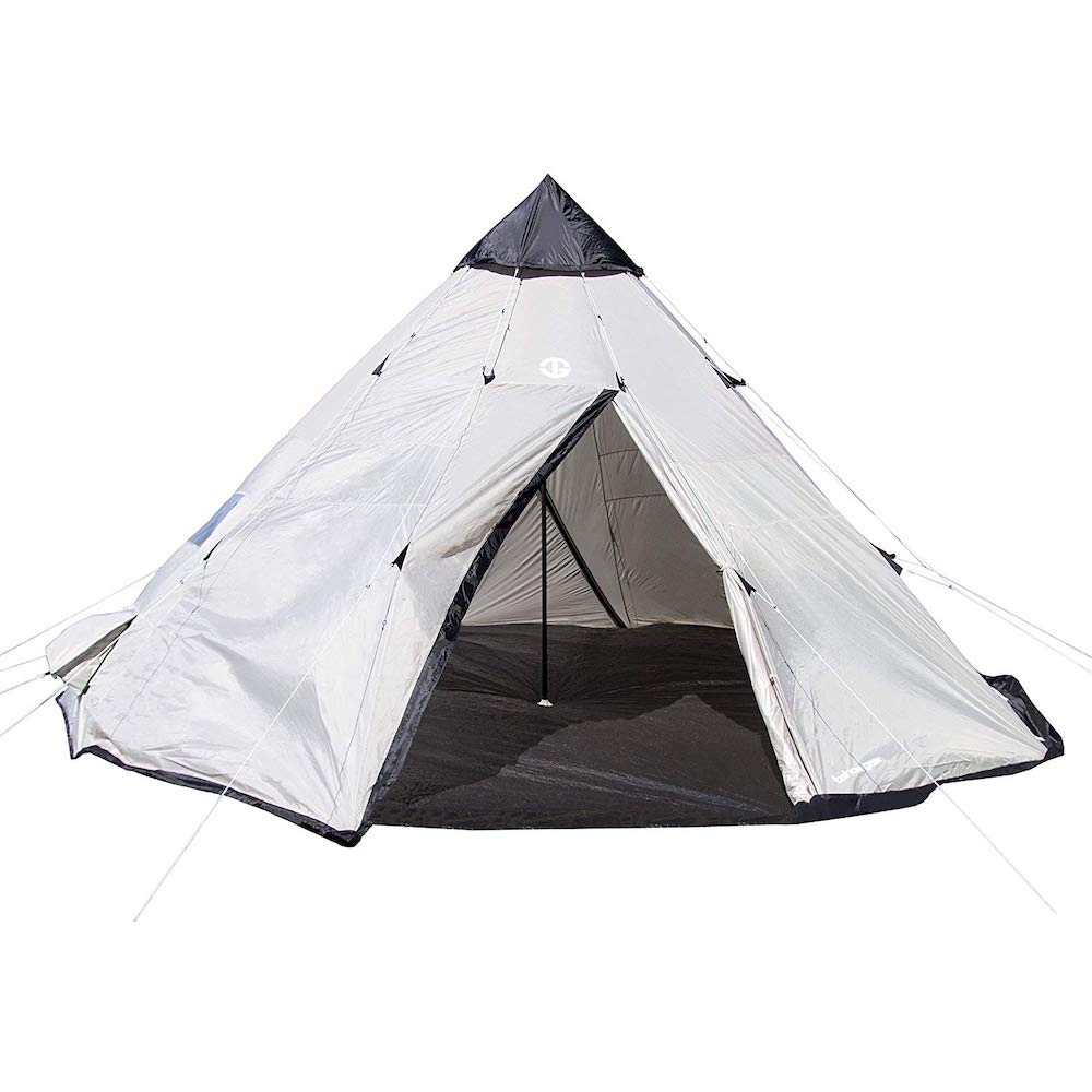 Black and white tent