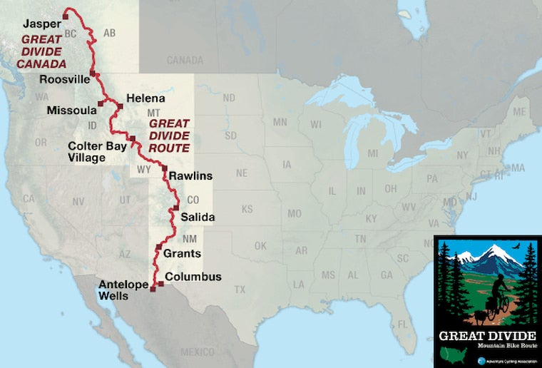 the great divide bike route on a map of the united states