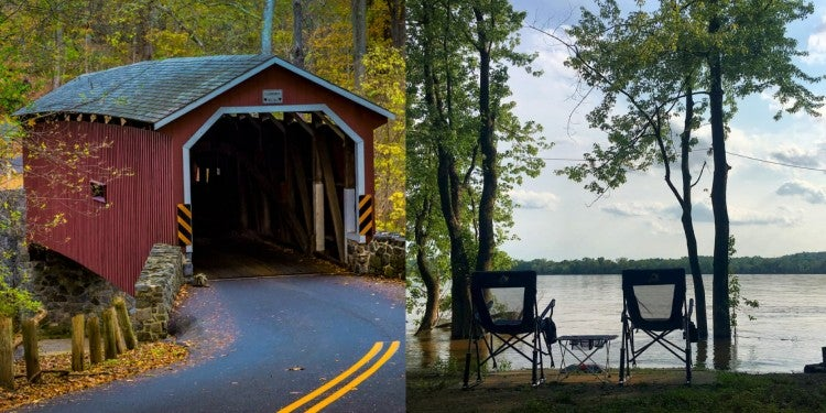 a split image of a covered bridge in pa and a campground near lancaster