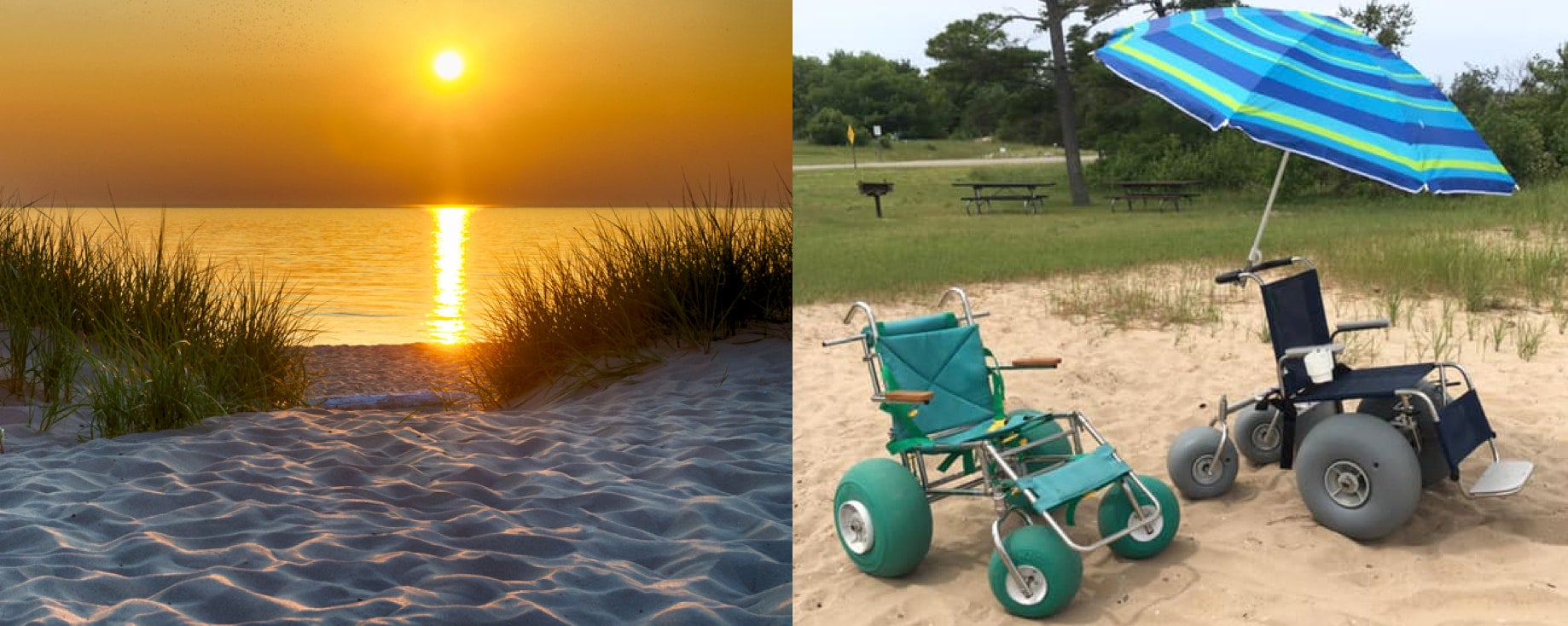 a sunset on the beach next to two beach wheelchairs