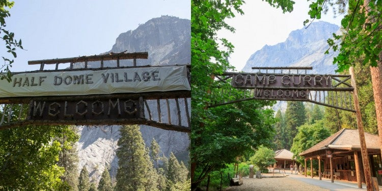a split image of the camp curry sign in yosemite national park covered up and uncovered