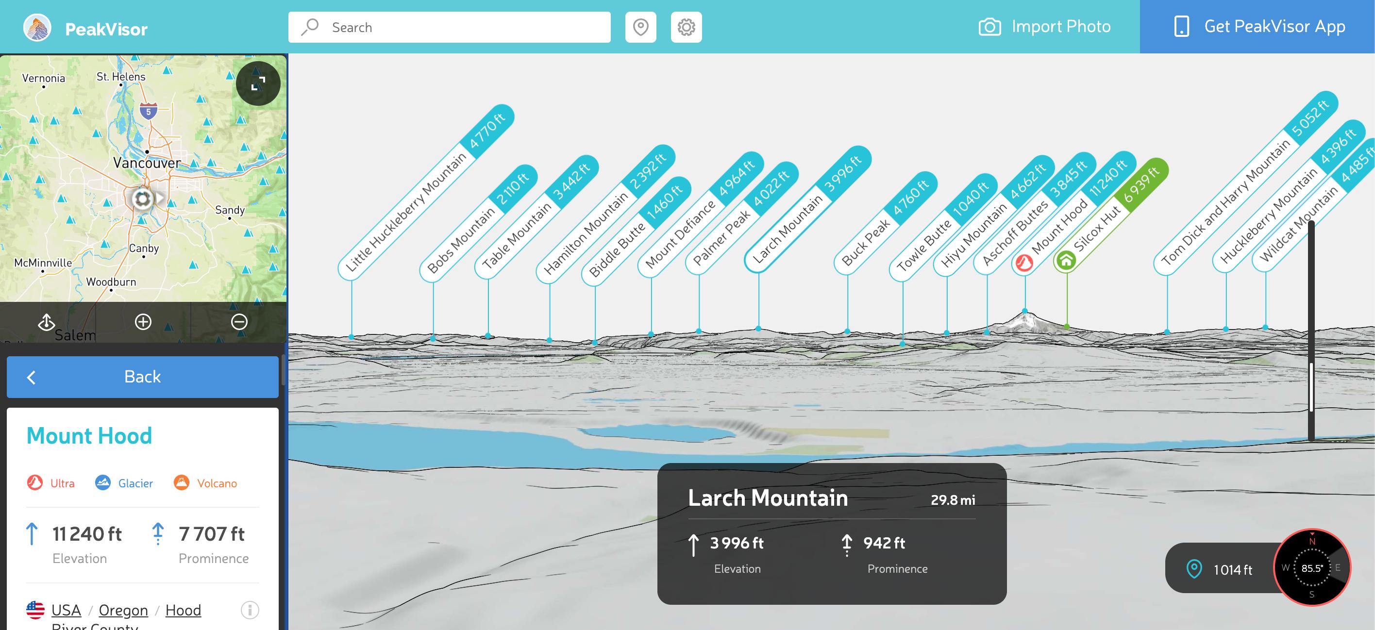 Peakvisor desktop tool showing peaks in Oregon.